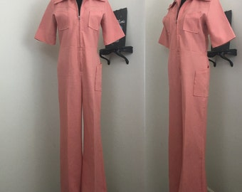 Get Down Tonight // Late 70s Pink Salmon Pastel Jumpsuit Romper
