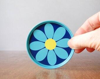 Vintage English Tin Coaster Set Blue Pink Flowers Laurids Lonborg Style