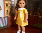 1960s A-line Dress in Sunny Yellow for Melody or 18 inch Doll