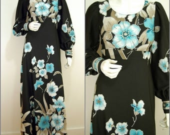 Art Nouveau VNTAGE 1970s Black Blue Flower Balloon Sleeve Maxi Dress 10 38 Bohemian / Ethereal/ Bold Flower
