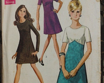 Simplicity 8444 1960s 60s Geometric Mod Mini Dress Color Block  Vintage Sewing Pattern Size 14 Bust 36