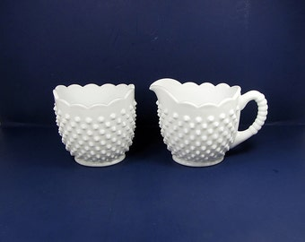 Vintage FENTON CREAM & SUGAR Set/2 White HOBNAiL Milkglass Scalloped Rim