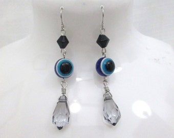 Blue Evil Eye Beaded Dangle Earrings Black and Grey Beads with Silver Wire