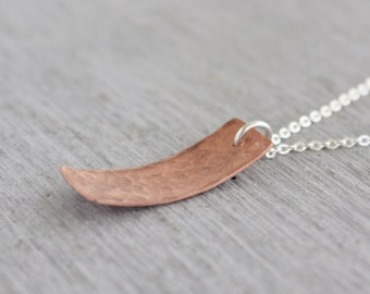 Rectangle Copper Necklace made in Sydney from a handcut copper rectangle pendant and a sterling silver necklace chain : CreNmHD