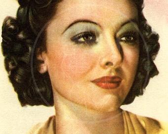 Myrna Loy - 10x15 Giclée Canvas Print of Vintage Postcard