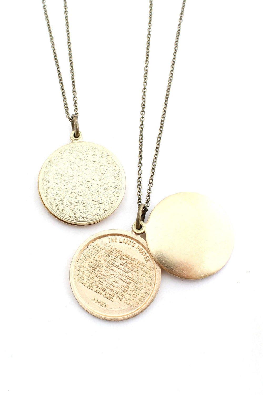 prayer stamped lord u0027s prayer swivel locket pendant