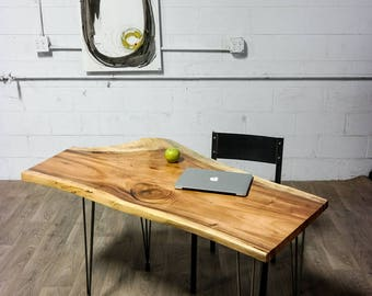 Live Edge Exotic Wood DESK - Natural - Rustic - Charming