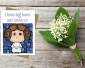 Princess Leia Greeting Card - Star Wars Card - Funny Card - Love Card - Relationship Card - Sci-fi Card - Funny Pun Card - Nerdy Card