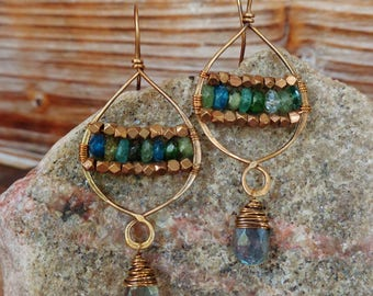 Depth. Hammered Artisan Boho Gold Brass Chandelier Drop Earrings with Wire Wrapped Aquamarine, Pink Jade, Brown Jasper, and Tribal Brass