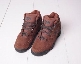 Vintage Reebok Brown Leather Hi Top Ankle Hiking Boots, Womens 5 1/2 / ITEM304