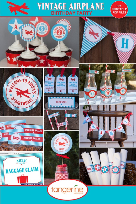 Airplane birthday decorations package by tangerinepapershoppe for Airplane party decoration ideas