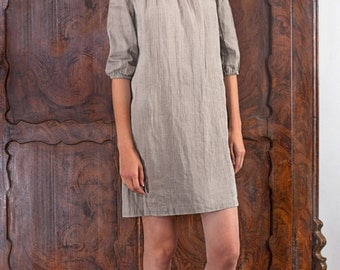 Linen  Dress - Tunic With Decorative Tape On front And 3/4 Length Sleeves In Natural Undyed Flax/ Linen Dress Midi/ Linen Tank