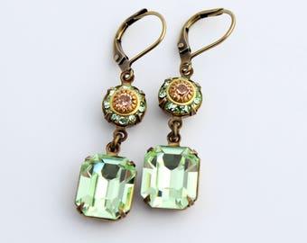 Swarovski earrings, peach and mint earrings, green earrings, peach earrings, Chrysolite earrings, bridesmaid earring, green  peach wedding