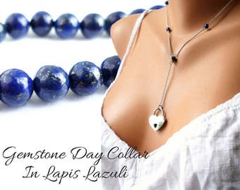 BDSM Discreet Day Collar, Gemstone Day Collar, Discreet Slave Collar, Lapis Lariat Necklace, Locking BDSM Collar, Discreet Submissive Collar