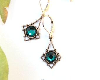 May Birthstone Jewelry, Emerald Earrings, Dainty Brass Jewelry, Timeless Heirloom Jewelry, Elegant Gift For Mom, Simple Jewelry Under 30