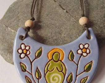 Flower Goddess Crescent Necklace, Goddess Jewellery, Pagan Jewelry, Pagan Pottery, Spiritual Jewelry, Divine Feminine, Artisan Pendant