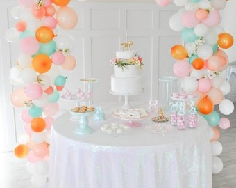 """Unicorn Party Iridescent Pearl Colored Sequin Tablecloth Table Cover for rectangle or round tables - 90"""" x 132"""""""
