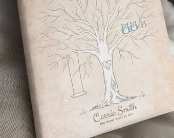 Rustic Baby Shower Thumbprint Tree Guest Book Alternative, Gender Reveal, Baby Announcement, Nursery Wall Art, Owls & Swing, Canvas or Print
