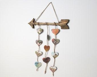 Wall Arrow - Arrow Decor - Rustic Arrow - Wood Arrow - Espresso, Gold Glitter, Hearts from Vintage Prehistoric Book, Prehistoric love