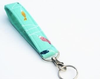 Teal Keychain, Key Fob, Wristlet Lanyard, Colorful Fish on Aqua