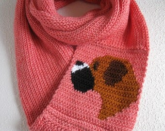 Boxer Infinity Scarf.  Salmon pink, knit infinity scarf with a crochet fawn boxer dog. Knitted dog scarf.  Long cowl boxer gift