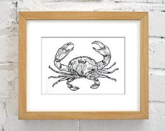 Ocean Crab Handmade Linocut Print - Nautical Art Print