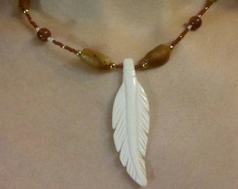 Native American Style Beaded White Bone Feather Necklace Seina Goldstone Pine Nuts Southwestern Gypsy, Boho  Great Gift  Ready to Ship