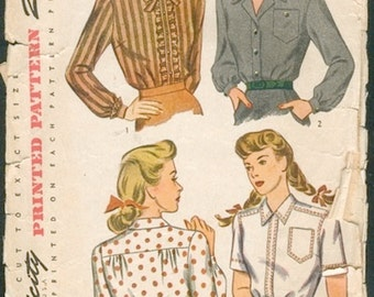 Great Vintage 1940s Simplicity 4817 WWII Era Blouses in 3 Styles Sewing Pattern B34