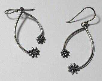 SALE Vintage Sterling Silver Flower Modern Pierced Dangle Earrings Signed Boma