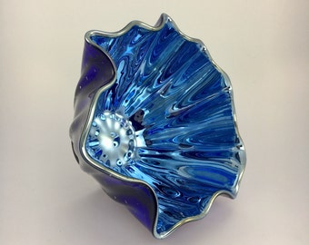 Hand Blown Glass Bowl - Cobalt Blue Luster Clamshell Bubble Bowl Form by Jonathan Winfisky