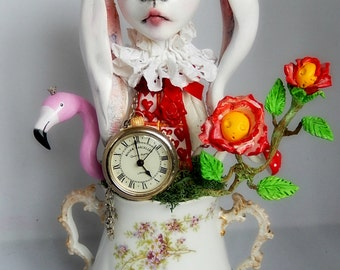 Ooak Sculpture Art doll The White Rabbit and red roses