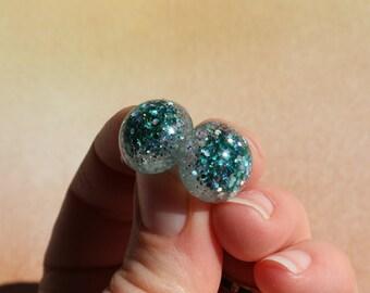 "Teal/Aqua Glitter Safety Eyes ""Under the Sea"", Hand Cast- 6mm, 8mm, 9mm, 12mm, 14mm, 15mm, 16mm, 18mm, 20mm, 24mm"