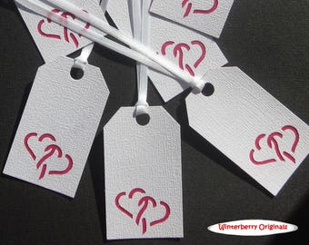 Gift Tags - Cutout Red Hearts - Set of 6 - Valentine's Day Gift Tag, Wedding Gift Tag, Engagement Gift Tag, Bridal Shower Gift Tag