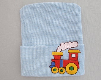 BOYS Newborn Hospital Hat with Train Appliqué, infant beenie, hospital take home hat, new baby beenie by Lil Miss Sweet Pea
