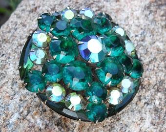 Vintage Rhinestone Brooch - Emerald Green, Layered, Dimensional, Juliana Style 1950s Jewelry