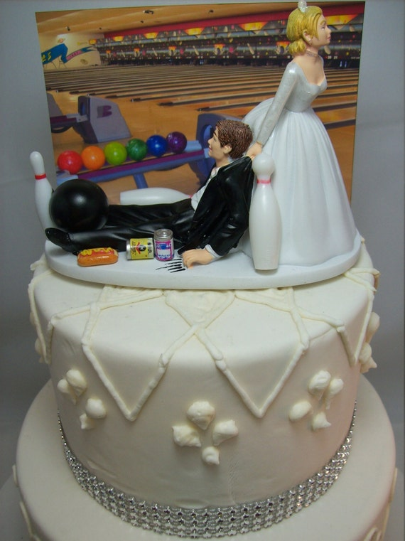 Funny Wedding Cake Topper Bowling Bowler Ball Pins Groom