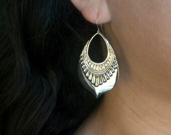 Dangling Silver Hoop Earrings, Silver Earrings, Dangling Silver Earrings, Silver Teardrop Earrings, Large Silver Statement Earrings