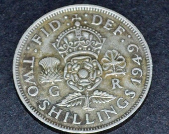 1949 Great Britian 2 Schilling silver very fine condition