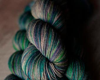 "Sock yarn - 70/20/10 SW Merino/Yak/Nylon - Autocorrect - ""I Love Misty Ogres"""