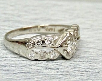 Sale! Vintage Diamond Ring in 14K White Gold, .45 Carats, Size 6