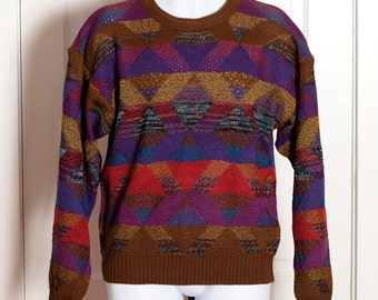 Men's 80s 90s Vintage Knit Sweater - colorful mens fashion