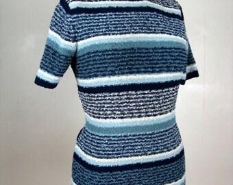 Vintage 1940s Wool Boucle Knit Blouse 40s Blue Striped Knit Top Size M-L