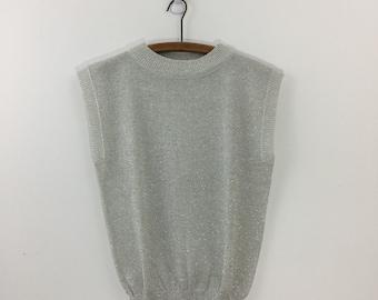 Vintage 80's Silver Glitter Knit Sleeveless Sweater S