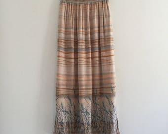 Vintage 90's Blowing Wheat Midi Rayon Skirt M