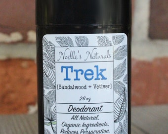 Natural Men's Deodorant - Trek - Sandalwood - Vetiver - Aluminum Free - Paraben Free - Zero Chemicals - No Synthetic Fragrances - Organic