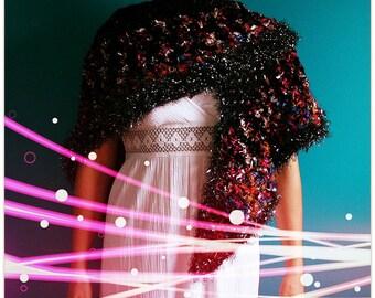Black Multi Color Triangle Shawl,Gypsy Glitter Scarf,Elegant Wrap,Jewel Tone Yarn,One Size,Womens Clothes,Metallic,Purple,Blue,Pink,Unique