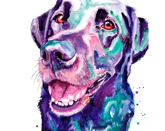 """Featured listing image: Black Lab Dog Art Abstract Watercolor Art Poster Print 16x20"""" Watercolor Black Lab Dog Print Black Lab Painting Art Dog Abstract Watercolor"""