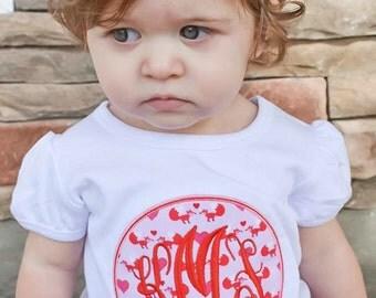 Valentine's Fox Monogram Shirt  - Girl's Valentine's Day Applique Shirt - Girl's Design - Vday shirt - Valentine - monogram shirt