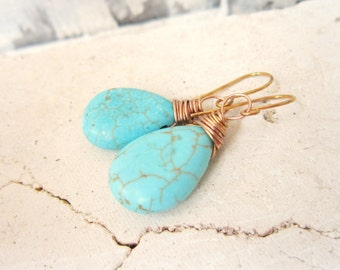 Turquoise Drop Earrings. Gold Wire Wrapped Turquoise Howlite Dangle Earrings. Turquoise Jewelry. Gold and Turquoise Earrings.Wedding Jewelry