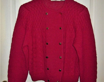 Vintage Ladies Magenta Red Wool Cardigan Sweater by Robert Scott Size 38 Only 12 USD